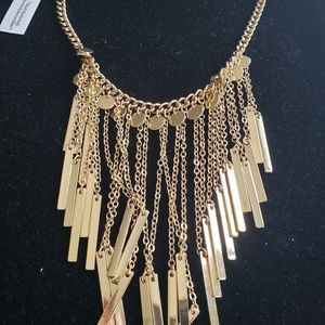 Gold fringe checker necklace